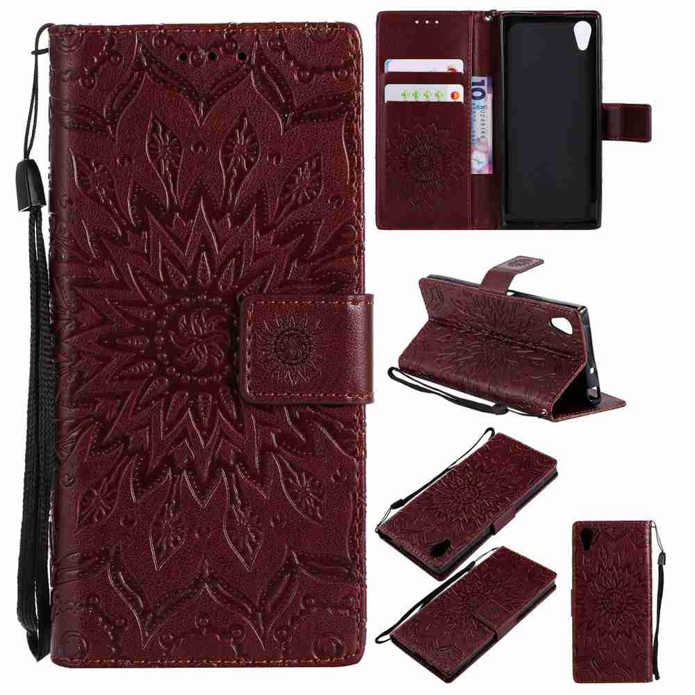 Affordable Embossed Sun Flower PU TPU Phone Case for Sony Xa1 / Z6