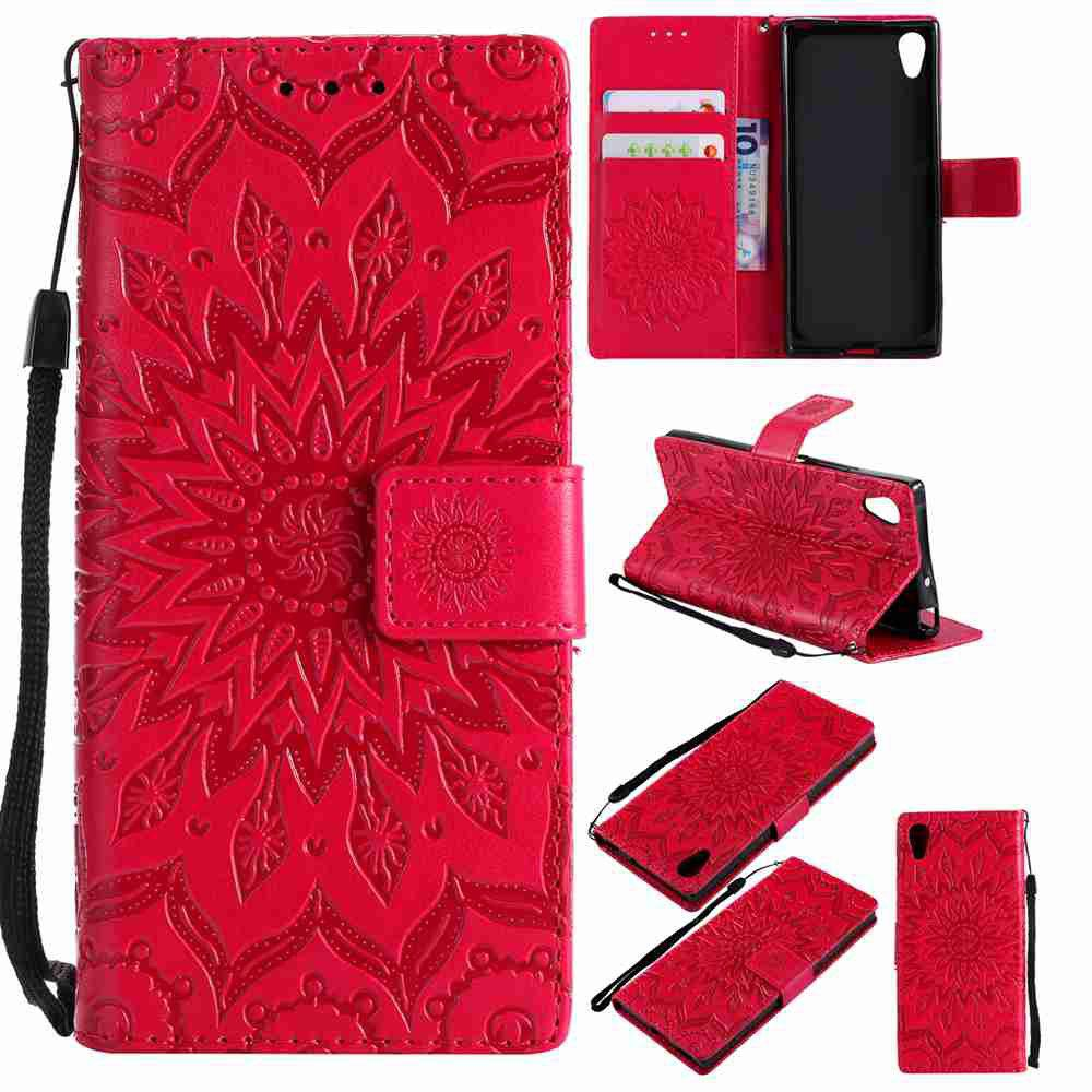 Sale Embossed Sun Flower PU TPU Phone Case for Sony Xa1 / Z6