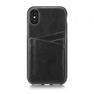 Wallet Slim Leather Back Case with Credit Card Holder for iPhone X -