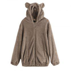 Women's Casual Fashion Big Size Hooded Fur Coat -