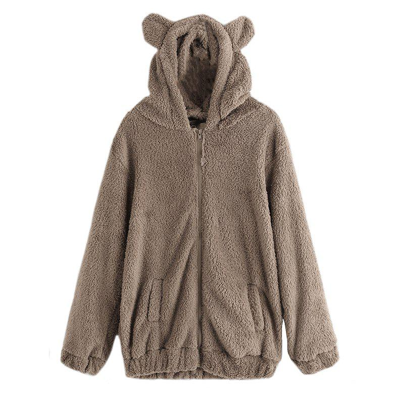 Chic Women's Casual Fashion Big Size Hooded Fur Coat