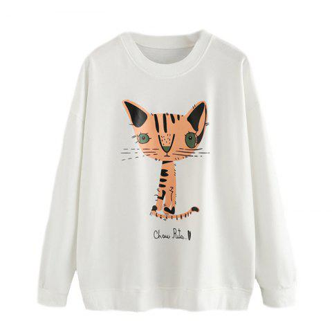 Trendy Women's Fashion Round Neck Cat Pattern Printing Long-Sleeved Sweatshirt