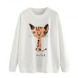 Women's Fashion Round Neck Cat Pattern Printing Long-Sleeved Sweatshirt -