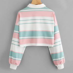 Women's Fashion Large Single-Breasted Stripes Spell Color Short Sweatshirt -