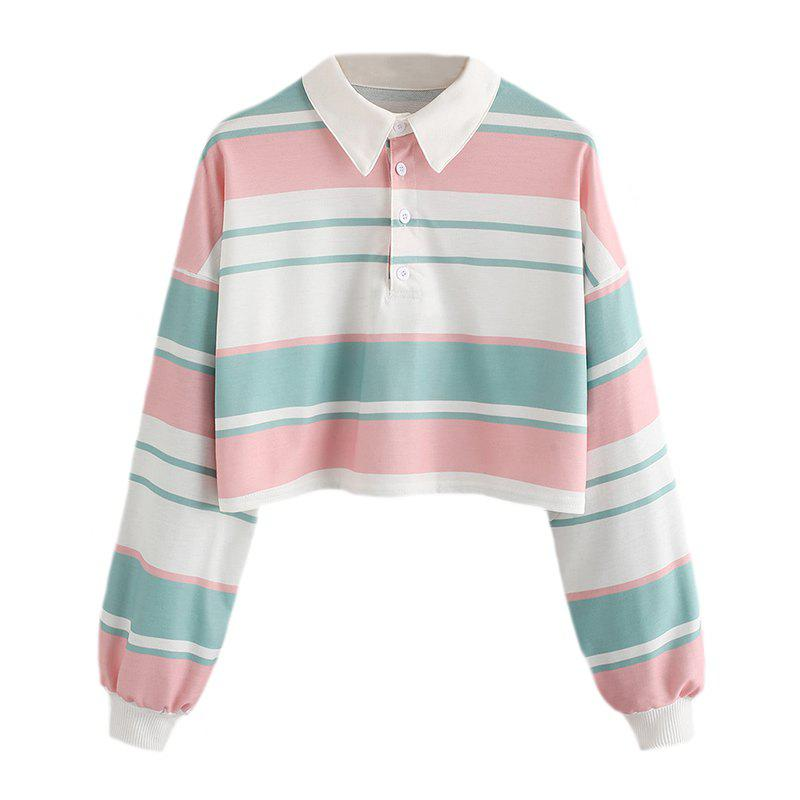 Latest Women's Fashion Large Single-Breasted Stripes Spell Color Short Sweatshirt