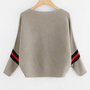 Women's Fashionable Round Neck Large Size Bat Sleeve Spell Color Sweater -