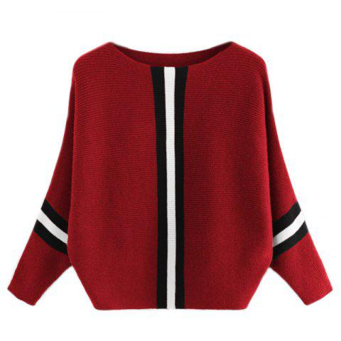 Shops Women's Fashionable Round Neck Large Size Bat Sleeve Spell Color Sweater