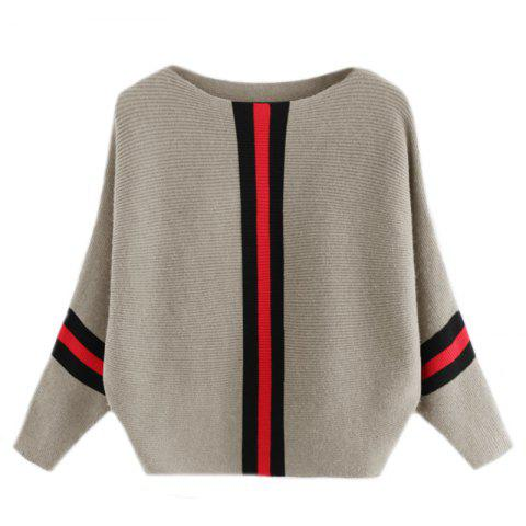 Fancy Women's Fashionable Round Neck Large Size Bat Sleeve Spell Color Sweater