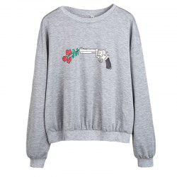 Women's Fashion Round Neck Large Size Printing Pistol Rose Long-Sleeved Sweatshirt -