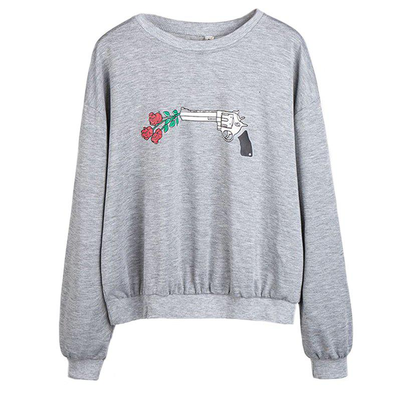Outfit Women's Fashion Round Neck Large Size Printing Pistol Rose Long-Sleeved Sweatshirt