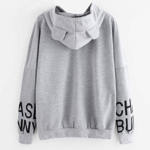 Women's Fashion Large Letter Letters Printed Hooded Loose Sweatshirt -