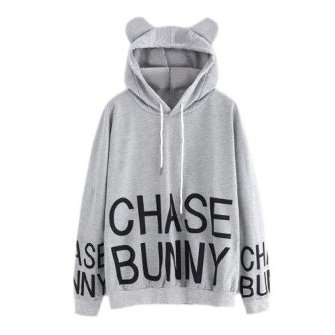 Sale Women's Fashion Large Letter Letters Printed Hooded Loose Sweatshirt
