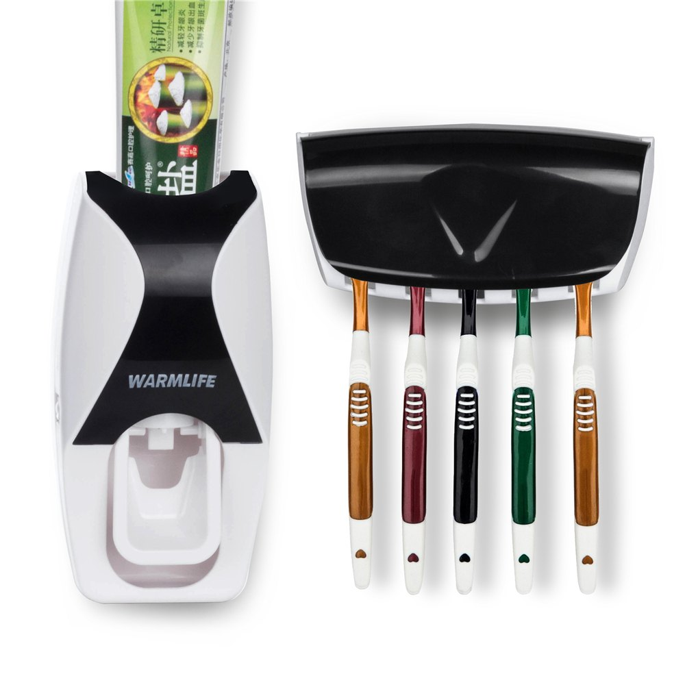 Best Home Bathroom Household Automatic Auto Toothpaste Dispenser Family Pack Anti-Dust Tooth Brush Holder