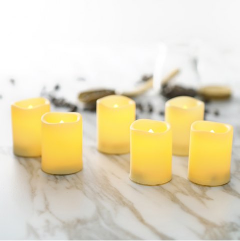 Fancy Set of 6pcs Flamless LED Votive Candles with Timer Operated by Cell Batteries