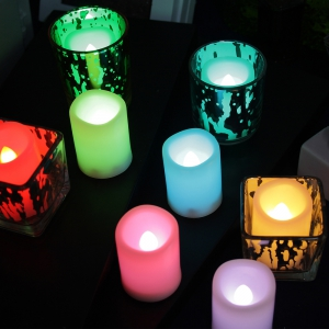 Set of 10pcs Flameless Votive Candle with Changing Color Remote and Timer -