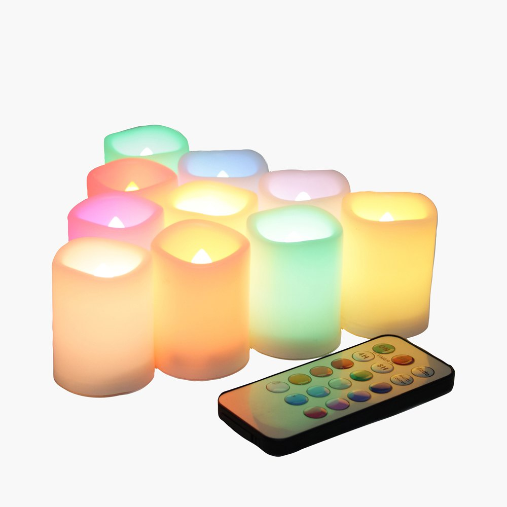 Latest Set of 10pcs Flameless Votive Candle with Changing Color Remote and Timer