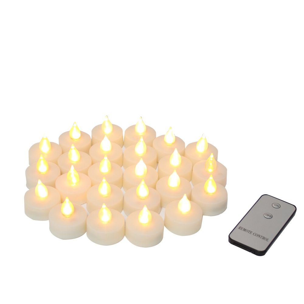 Fashion Set of 24pcs Realistic Flameless Tealight Candles Bright Battery Operated