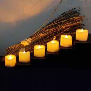 Set of 12pcs LED Votive Candle with Remote Top Melted Edge -