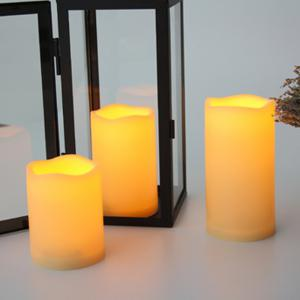 Set of 3pcs Outdoor Flameless Candles with Remote and Timer -