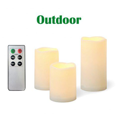 Outfit Set of 3pcs Outdoor Flameless Candles with Remote and Timer