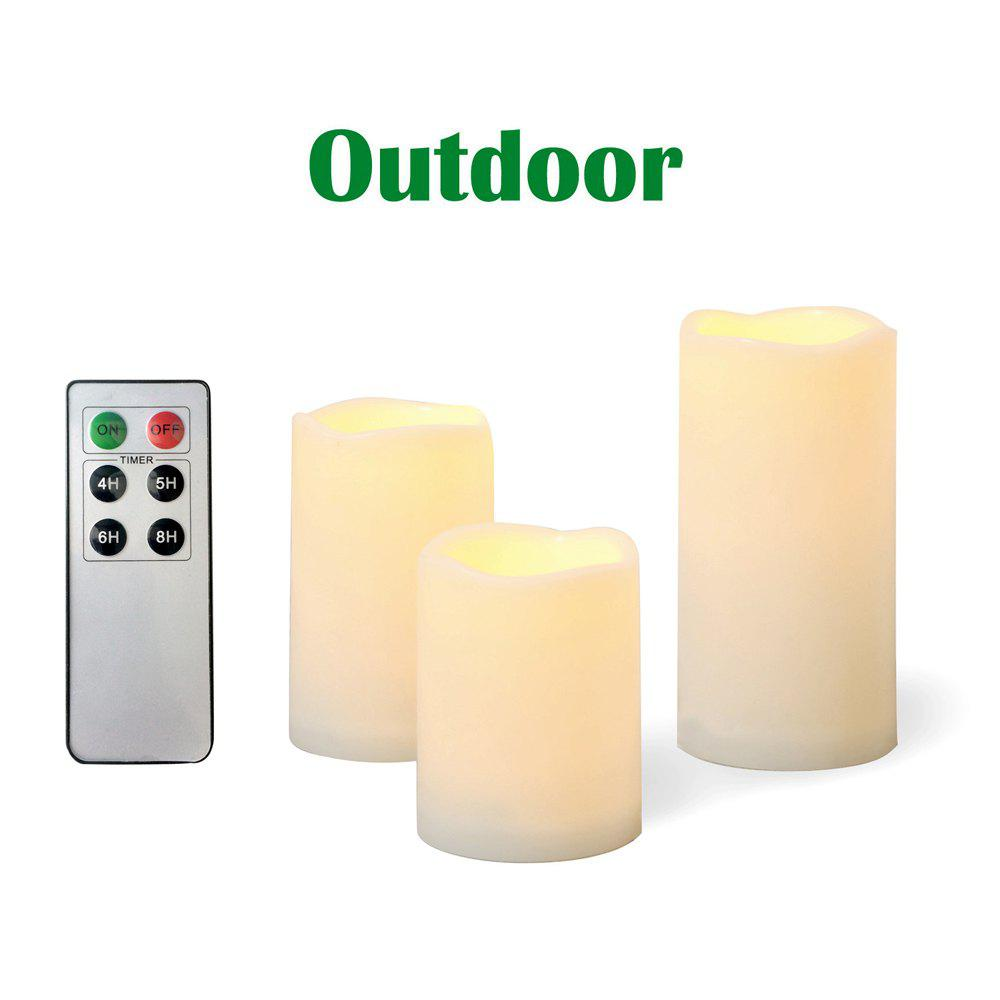Outfit Set of 3pcs Outdoor and Waterproof Flameless Candles with Remote and Timer