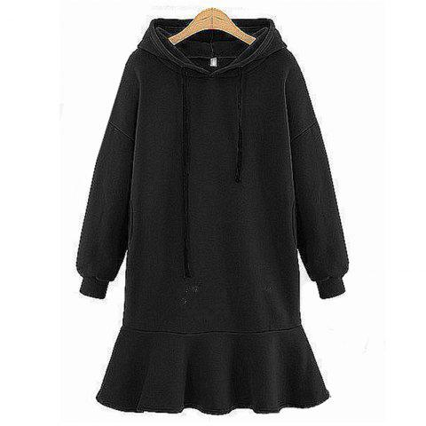 Outfits Simple Casual Style Monochrome Long Sleeve Hooded Thickening Dress