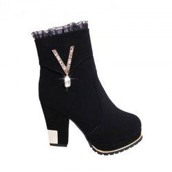 High - heel Boot Waterdrill Side Zip Lace Sexy Women's Boots -