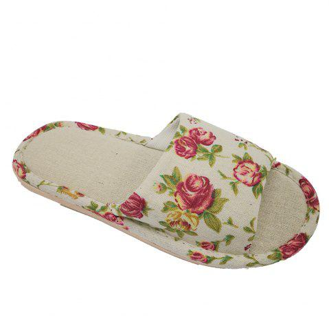 Sale Women's Printing Linen House Slippers