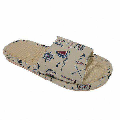 Affordable Men's Linen Prnting  House Slippers