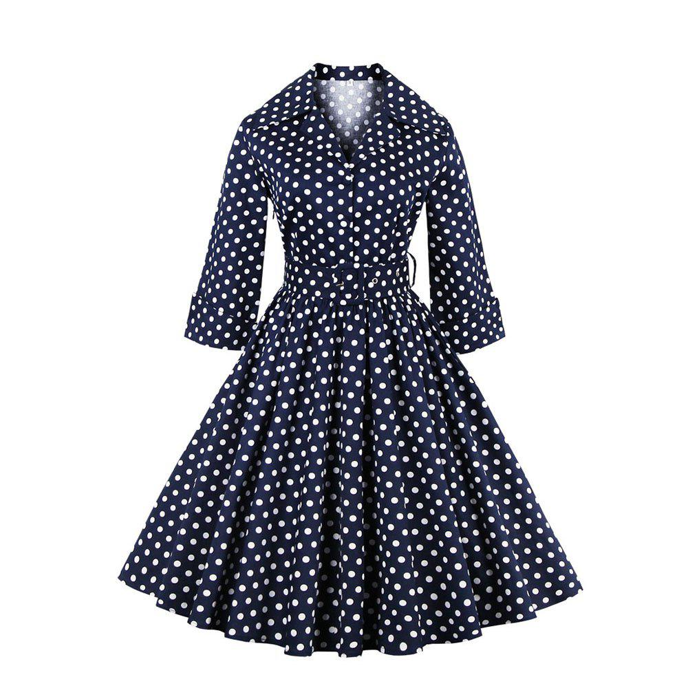 720c650f00d3f Elegant Summer Polka Dot Belted Tunic Pinup Wear To Work Office Casual  Party A Line Skater Dress