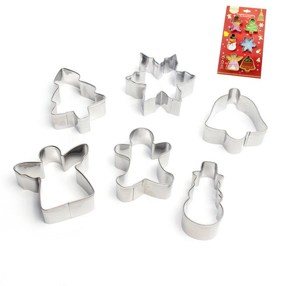 cheap 6 pieces christmas cookie cutters set stainless steel metal baking molds - Metal Christmas Cookie Cutters