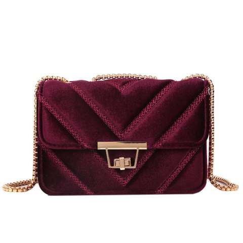 Unique Embroidered Line V Grain One-Shoulder Bag Velvet Small Square Bag of New Women Inclined To Cross Small Bags