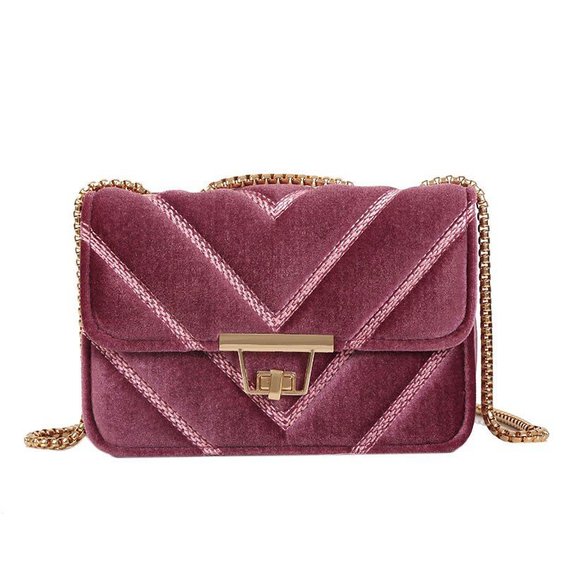 Chic Embroidered Line V Grain One-Shoulder Bag Velvet Small Square Bag of New Women Inclined To Cross Small Bags