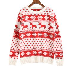 Women's Sweater O Neck Long Sleeve Print Colorblock Sweater -