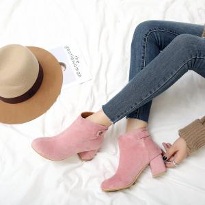 Autumn And Winter Ladies With Round Head Pure Color Short Boots -