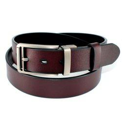 Men's Belt Leather Double-sided Rotating Buckle Black/Brown -