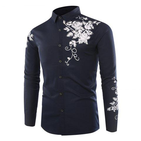 Buy Fashion lapel rose printing casual men long-sleeved shirt - Royal L