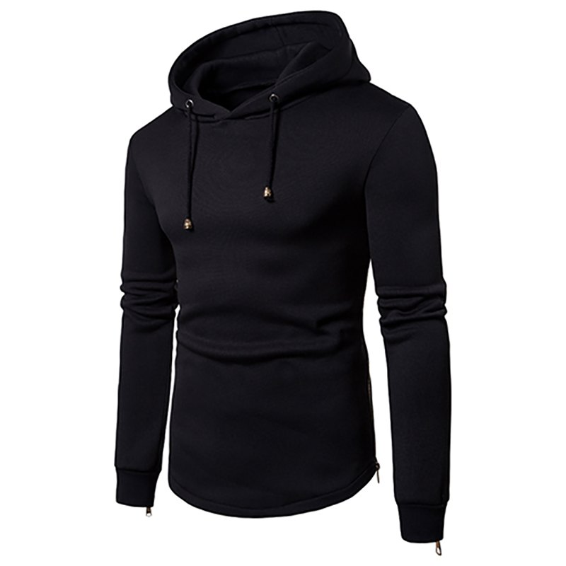 042a24b018e3b9 2019 Men s New Casual Hooded Personalized Curved Hem Hoodie ...