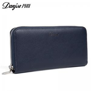 DANJUE Men Wallets Genuine Leather Zipper Long Casual Male Purses Big Capacity Cowhide Day Clutch Wallets Phone Bag -