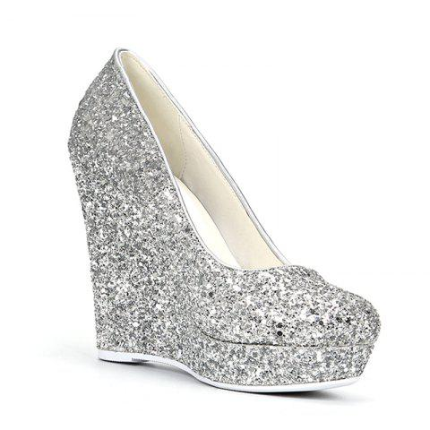 Silver 34 Women Shoes Sequin Bling Round Toe Platform Wedge Heel ...