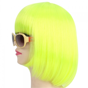 Женская мода Solid Straight Fashionable Short Halloween COS Party Dance Hair Wig -