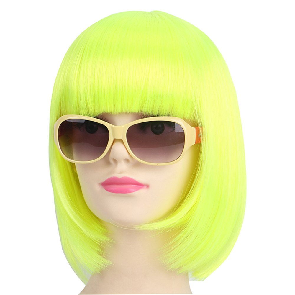 Женская мода Solid Straight Fashionable Short Halloween COS Party Dance Hair Wig