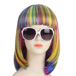 Women's Fashion Multicolor Straight Short Halloween COS Party Dance Hair Wig -