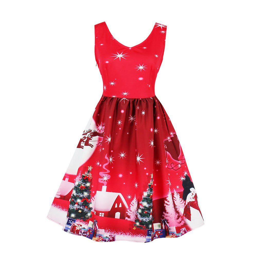 affordable new retro 50s rockabilly vintage dress women red christmas print party dresses summer pin up - Red Christmas Dresses