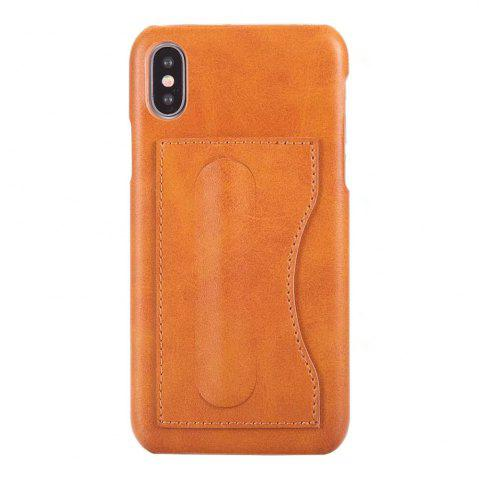 Best Card Holder with Stand Back Cover Solid Color Hard PU Leather Case for iPhone X
