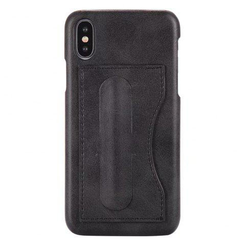 Affordable Card Holder with Stand Back Cover Solid Color Hard PU Leather Case for iPhone X