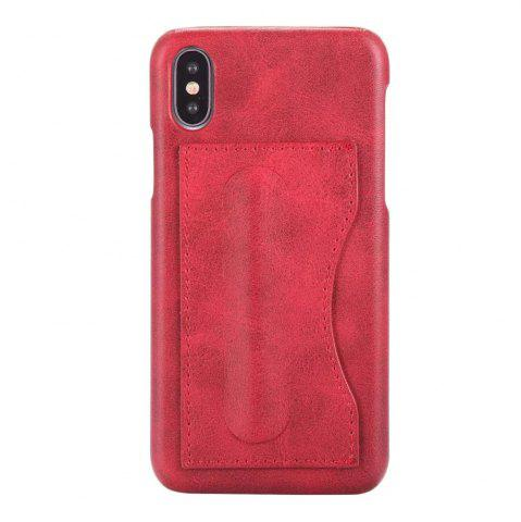 Fashion Card Holder with Stand Back Cover Solid Color Hard PU Leather Case for iPhone X