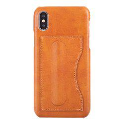 Card Holder with Stand Back Cover Solid Color Hard PU Leather Case for iPhone X -