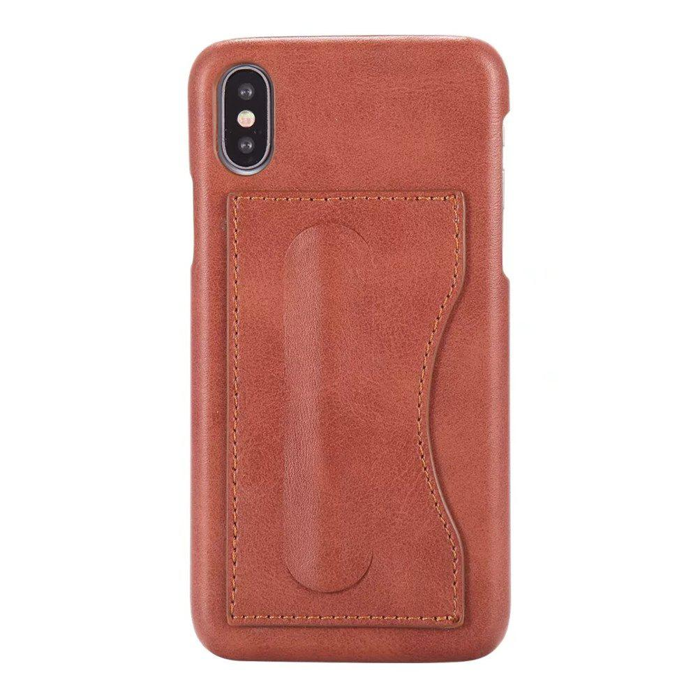 Sale Card Holder with Stand Back Cover Solid Color Hard PU Leather Case for iPhone X