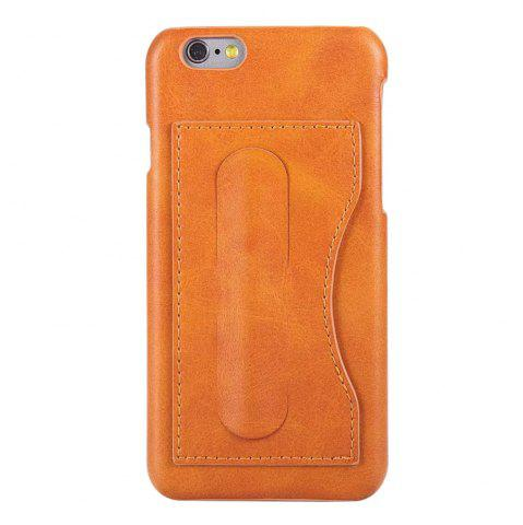 Outfit Card Holder with Stand Back Cover Solid Color Hard PU Leather Case for iPhone 8 / 7